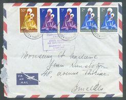 Lettre Par Avion Affranchie à 6Fr.50 Obl. Sc ELISABETHVILLE 3-4-1960 Vers Bruxelles + Griffe Violette 1ère Liaison Aérie - 1947-60: Lettres