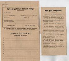 VP17.231 - MILITARIA - Guerre 14 / 18 - 2 Formulaires Pour L'Expédition Des Colis Pour Les Prisonniers De Guerre - Documents