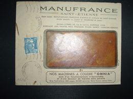 LETTRE TP M. DE GANDON 15F OBL.MEC.9 IX 52 ST ETIENNE MANUFACTURE(42) MANUFRANCE ARMES ET CYCLES MACHINES A COUDRE OMNIA - 1921-1960: Modern Tijdperk