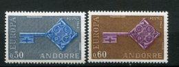 18885 ANDORRE N°188/9** 30c. Gris Et Bleu, 60c. Brun Et Lilas  Europa  1968  TB/TTB - French Andorra