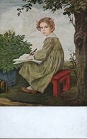 """Professor Ludm.von Zumbusch  -   """"Joanna"""" : Portrait Of A Young Girl Who Is Writing In A Book. - Zumbusch, Ludwig V."""