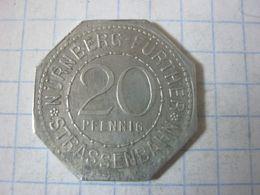 Germany , Tram Token , Strassenbahn Nurnberg Further , 20 Pfennig ( 1 Deutsche Eisenbahn 1835) - Deutschland