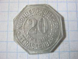 Germany , Tram Token , Strassenbahn Nurnberg Further , 20 Pfennig (stadt Sparkasse) - Deutschland