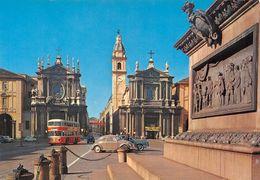 """010878 """"TO-CHIESE S. CARLO E S. CATERINA-SULLO SFONDO VIA ROMA E PORTA NUOVA"""" BUS 2 PIANI E VOLKSWAGEN.   CART NON SPED - Places & Squares"""