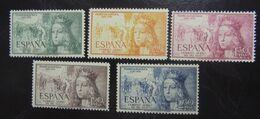 &BAR-22A& SPAIN, ESPAÑA, EDIFIL 1097/1101, MICHEL 998/1002, YVERT PA 250/254 MNH**, ISABEL. - 1951-60 Nuovi