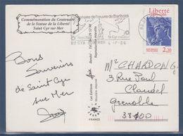 Carte Postale Statue De La Liberté Centenaire De L'oeuvre De Bartholdi Saint Cyr Sur Mer Flamme 4.8.86 N°2421 -2 Timbres - Matasellos Conmemorativos