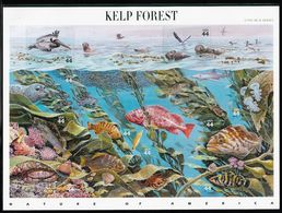 2009 USA Nature Of America, Kelp Forest: Fish, Seals, Sea Birds, Other Marine Life Sheet (Self Adhesive) - Fishes