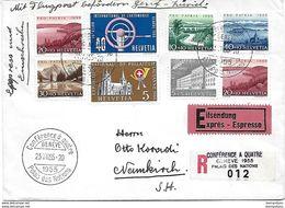 """125 - 80 - Enveloppe Recommandée Avec Oblit Spéciale """"Conférence à Quatre Genève Palais Des Nations"""" 1954 - Poststempel"""
