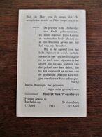 Prentje Van PRIESTER  Wijding  1953  FLORENT  VAN  WESENBEECK - Sonstige