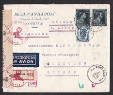 Belgium: Registered Airmail Cover To Switzerland, 1944, 3 Stamps, Censored, German Censor Label & Cancel (minor Damage) - Lettere