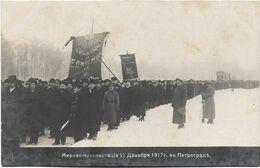 Carte-photo - Révolution Russe De 1917 - Manifestation Sous La Neige? Animée. - Events