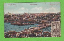 CARTE POSTALE NOUVEAU PONT CONSTANTINOPLE TIMBRES N° 177/178 OBLITERATION PERA - Storia Postale