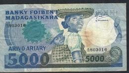 MADAGASCAR P69b 5000 FRANCS 1983 # A/15 RAREST SIGNATURE /HORIZONTAL SERIAL # , 7 P.h.  F-VF - Madagascar