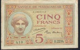 MADAGASCAR P35b 5 FRANCS 1937 # B.2234 2 P.h. VF-XF - Madagascar