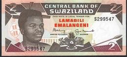 SWAZILAND P18b 2 EMALANGENI 1992 #S Signature 5 (Shabangu/Nxumado) UNC. - Swaziland