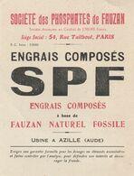 FAUZAN - ENGRAIS COMPOSES SPF - USINE AZILLE AUDE - TARIFS 3 VOLETS - ANNEE 30 - FORMAT CARTE - Landbouw