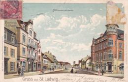 SAINT-LOUIS - HAUT-RHIN -  (68)  -  PEU COURANTE CPA PRÉCURSEUR ANIMÉE 1903. - Saint Louis