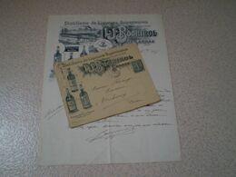 Enveloppe Illustrée & Facture Distillerie Bochirol à Sarras, Ardèche 1905, Cachet Facteur Receveur Vercheny,Drôme - Food