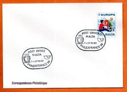 MALTE   PHILEXFRANCE  1989 Lettre Entière N° RS 97 - Malta