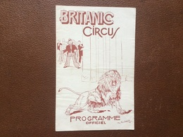 PROGRAMME CIRQUE  BRITANIC Circus  ANNEE 1948  Royaume-Uni - Programmi