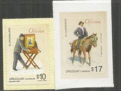 El Cuarteador (sauveteur á Cheval) & Le Joueur D'orgue De Barbarie. Les Métiers Anciens.2 Timbres Neufs ** URUGUAY - Caballos