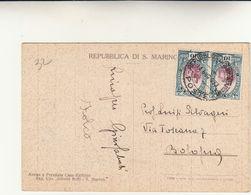 Repubblica Di San Marino Per Bologna. 10+10 Centesimi Su Cartolina Postale . 1933 - Saint-Marin