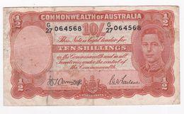 Australie 10 Shillings 1942 George VI, Signature Armitage Et McFarlane - 1938-52