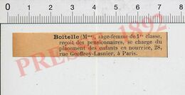 Petite Coupure 1892 Généalogie Boitelle Sage-Femme Placement Des Enfants En Nourrice 28 Rue Geoffroy-Lasnier Paris51B11B - Zonder Classificatie