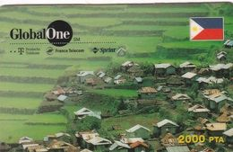 "SPAIN - Philippines Farmer""s Village, Global One Prepaid Card 2000 Pta, Exp.date 08/98, Used - Espagne"