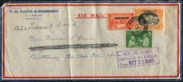 "1940 Air Mail ""Commonwealth"" Cover Manila - Victoria, British Columbia. ""Not On Board Empress Of Russia"" Ship Cachet - Philippinen"