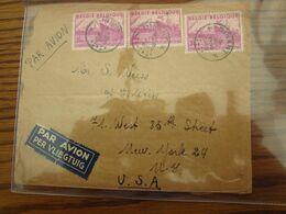 """Belgique:""""EXPORTATION BELGE"""" N° 770 (3X) Soit 9 Frs Sur Lettre Par Avion Oblitérée Dinant En 1949 Pour Les U.S.A. - Postmark Collection"""