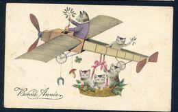 CP ANCIENNE REF250720 ..  BONNE ANNEE, Chats En Avion - Fantaisies