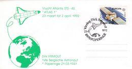 Enveloppe 2406 Espace Navette Vol Atlantis Atlas Dirk Frimout Astronaute Poperinge - Belgium