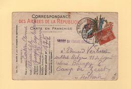 Bureau Frontiere F - 1916 - Destination Hollande - Type Semeuse - Carte FM - Censure - Marcophilie (Lettres)