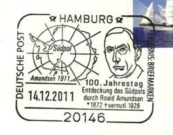 617  Pôle Sud, Roald Amundsen: Oblit. Temp. D'Allemagne, 2011 - South Pole Special Cancel From Germany. Antarctique - Polar Exploradores Y Celebridades