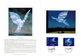 """"""" BELGIQUE / FRANCE : MAGRITTE """" Sur Encart Ceres Luxe 1er Jour N°té Sur Soie De 1998  N° YT 3145  + BEL. 2755 Parf état - Joint Issues"""