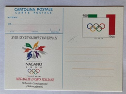 Italia Cartolina Postale C 235 Con Sovrastampa Privata Dedicata Alle Medaglie D'oro Nagano 1998 Deborah Compagnoni - Entiers Postaux