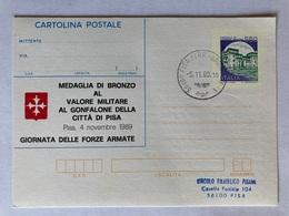 Italia Cartolina Postale C212 Con Sovrastampa Privata Medaglia Di Bronzo Al Valore Militare Al Gonfalone Città Di Pisa - Entiers Postaux
