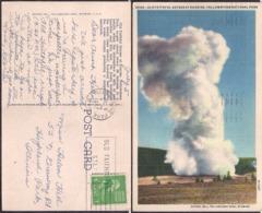 C. Postale - Old Faithful Geyser At Surise - 1947 - Circulee - A1RR2 - Yellowstone