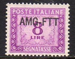 TRIESTE A 1949 1954 AMG-FTT SOPRASTAMPATO D'ITALIA ITALY OVERPRINTED SEGNATASSE POSTAGE DUE TAXES TASSE LIRE 8 MNH - Impuestos