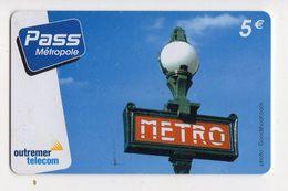 ANTILLES FRANCAISE PREPAYEE OUTREMER TELECOM PASS METROPOLE - Antilles (Françaises)