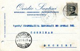 Carte Perforation D'archivage Cachet Civitavecchia Terranova 1929 Pour Oschiri Sardaigne - 1900-44 Victor Emmanuel III