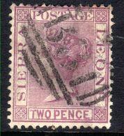 Sierra Leone 1876 QV 2d Magenta Used CC Wmk Perf 14 SG 19 ( H1106 ) - Sierra Leone (...-1960)