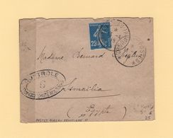 Bureau Frontiere H - 1918 - Destination Egypte - Type Semeuse - Censure - 1. Weltkrieg 1914-1918