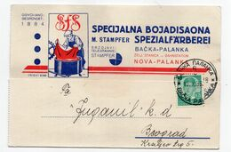 1936 KINGDOM OF YUGOSLAVIA,SERBIA,BACKA PALANKA,M.STAMPFER,SPECIAL DYEING FOR TEXTILE,CORRESPONDENCE CARD,USED - Briefe U. Dokumente