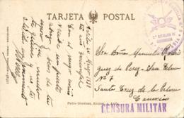 """España. Tarjeta Circulada En Franquicia De Ávila A Sta. Cruz, El 20/3/1937. Marca """"Regimiento De Infantería Castilla - 2 - 1931-Tegenwoordig: 2de Rep. - ...Juan Carlos I"""