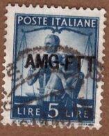 AMGFTT045 AMG-FTT  1949 SERIE DEMOCRATICA SOPRASTAMPATA SU 1 RIGA LIRE 5 SASSONE NR 59 USATO - Usati