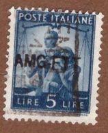 AMGFTT046 AMG-FTT  1949 SERIE DEMOCRATICA SOPRASTAMPATA SU 1 RIGA LIRE 5 SASSONE NR 59 USATO - Usati