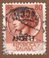 AMGFTT054 AMG-FTT  1953 SERIE ITALIA TURRITA SOPRASTAMPATA LIRE 80 SASSONE NR 176 USATO - Usati