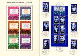 """"""" ACTEURS DU CINEMA FRANCAIS """" Sur Encart Ceres Luxe 1er Jour N°té Sur Soie De 1998  N° YT BC3193 + 3187 à 3192 - Kino"""